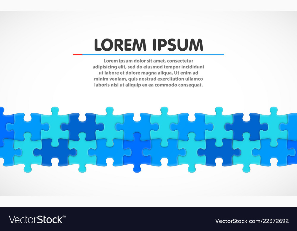 Blue jigsaw puzzle blank simple background