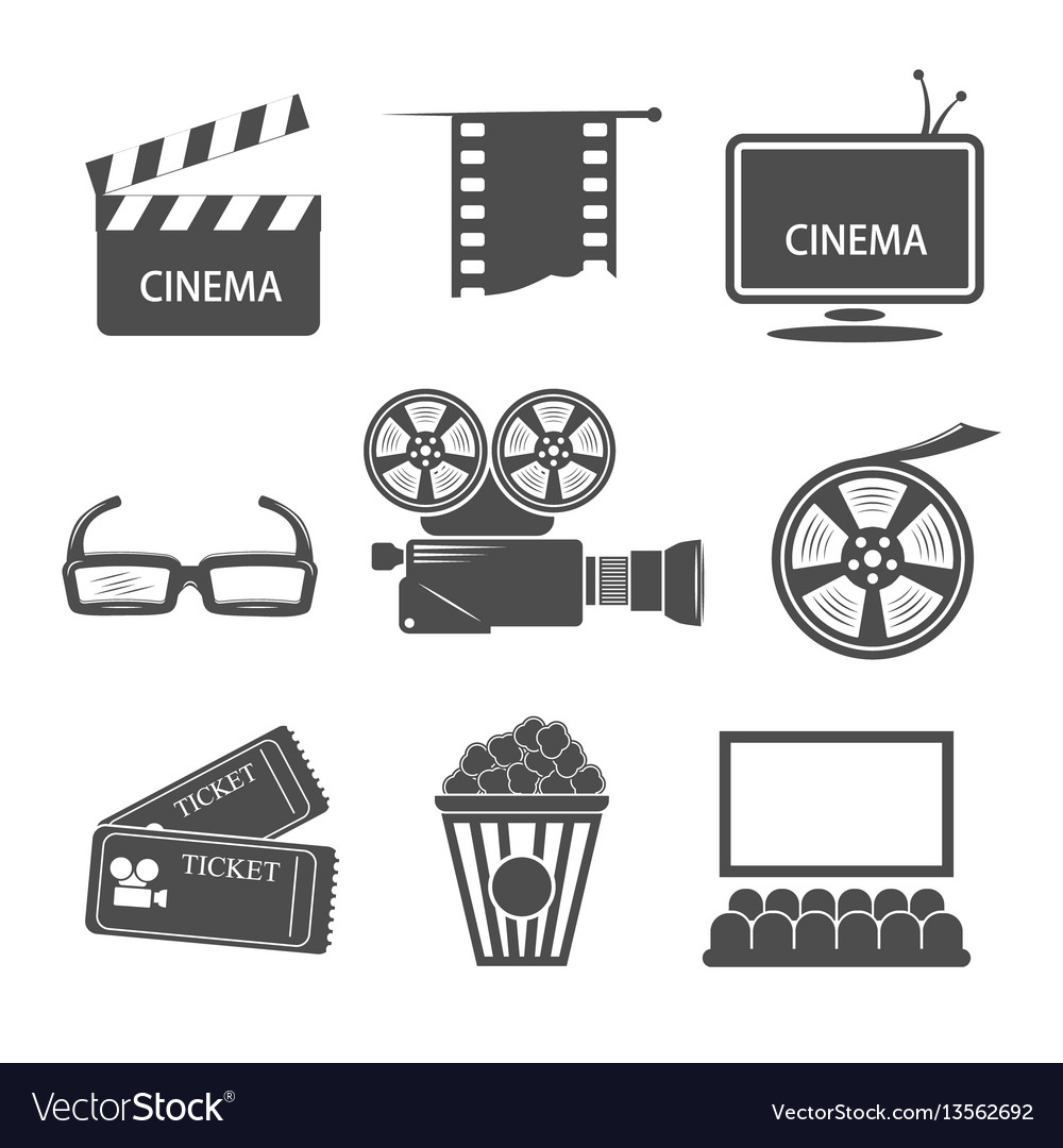 Cinema monochrome elements set