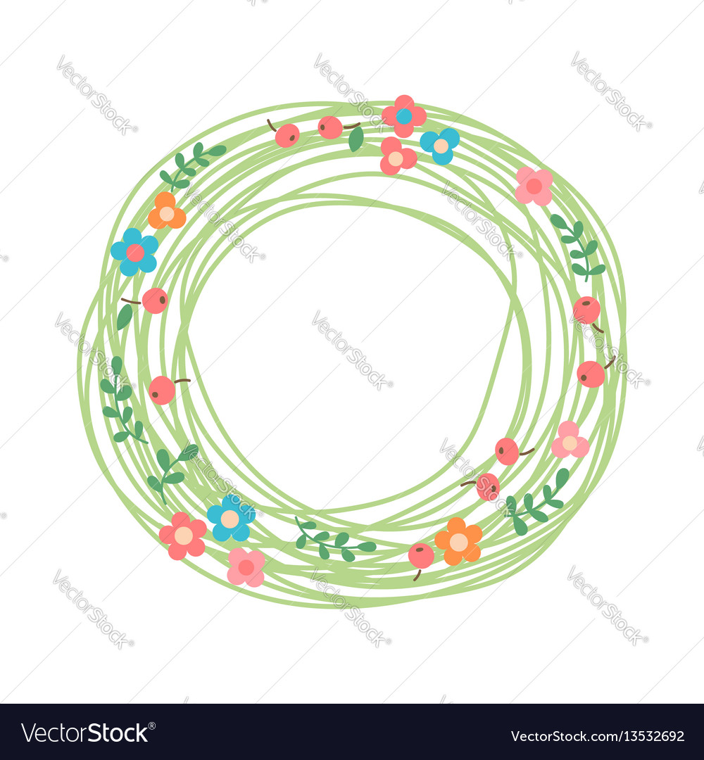 Decorative floral wreath nest herbs flowers