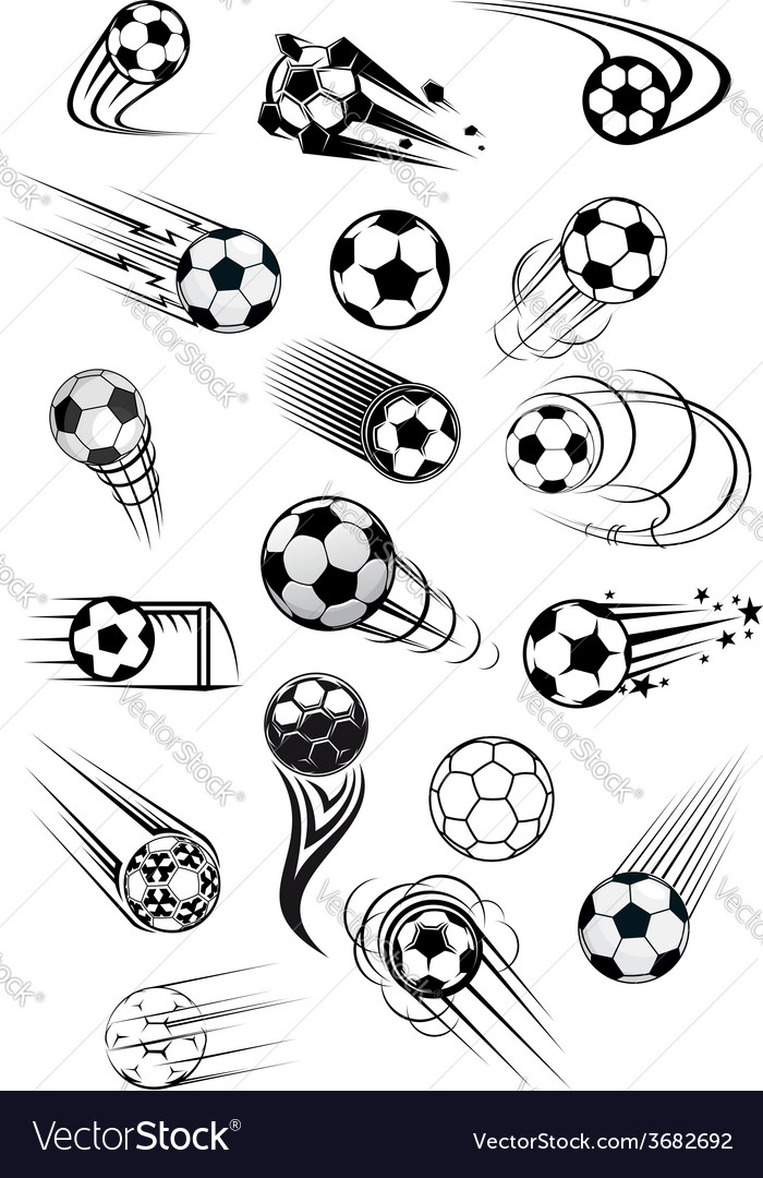 Football or soccer ball symbols in black and white vector image