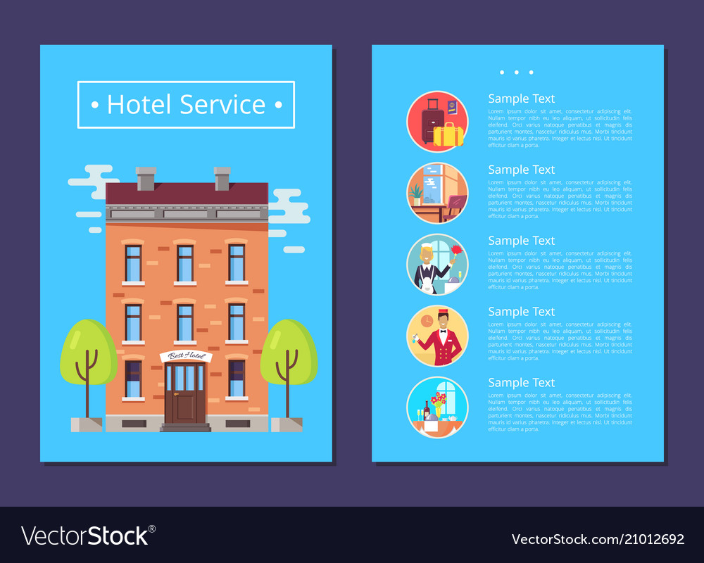 Hotel service detailed informative internet page vector image