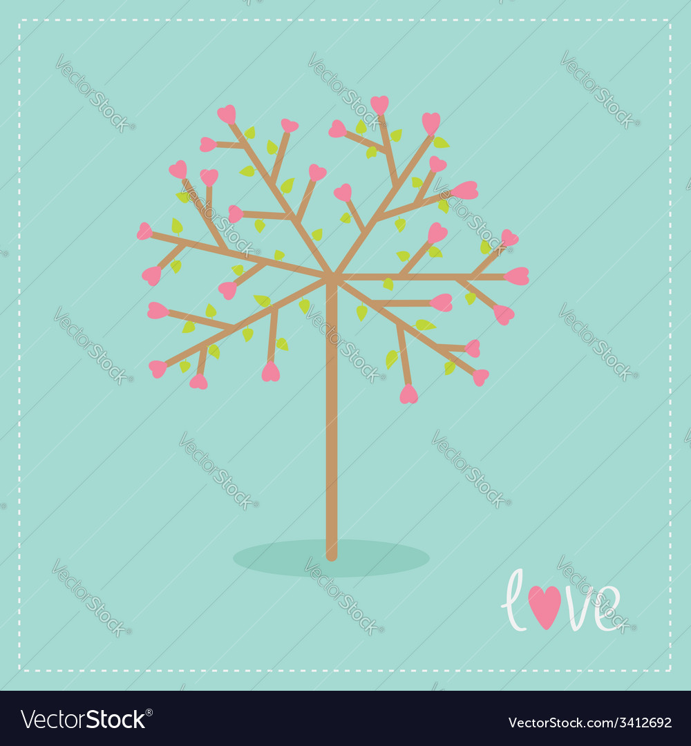 Love tree with hearts and leaves flat design