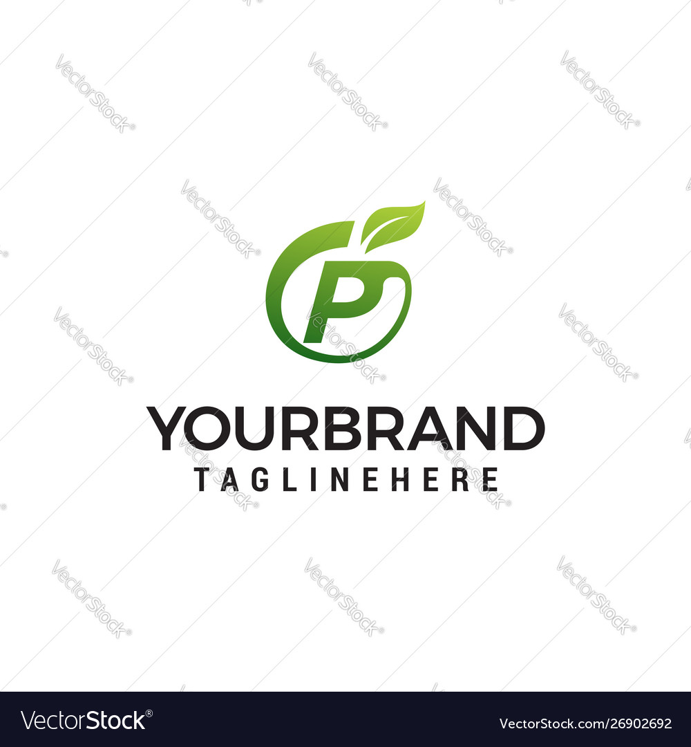 P logo initial letter design template with leaf