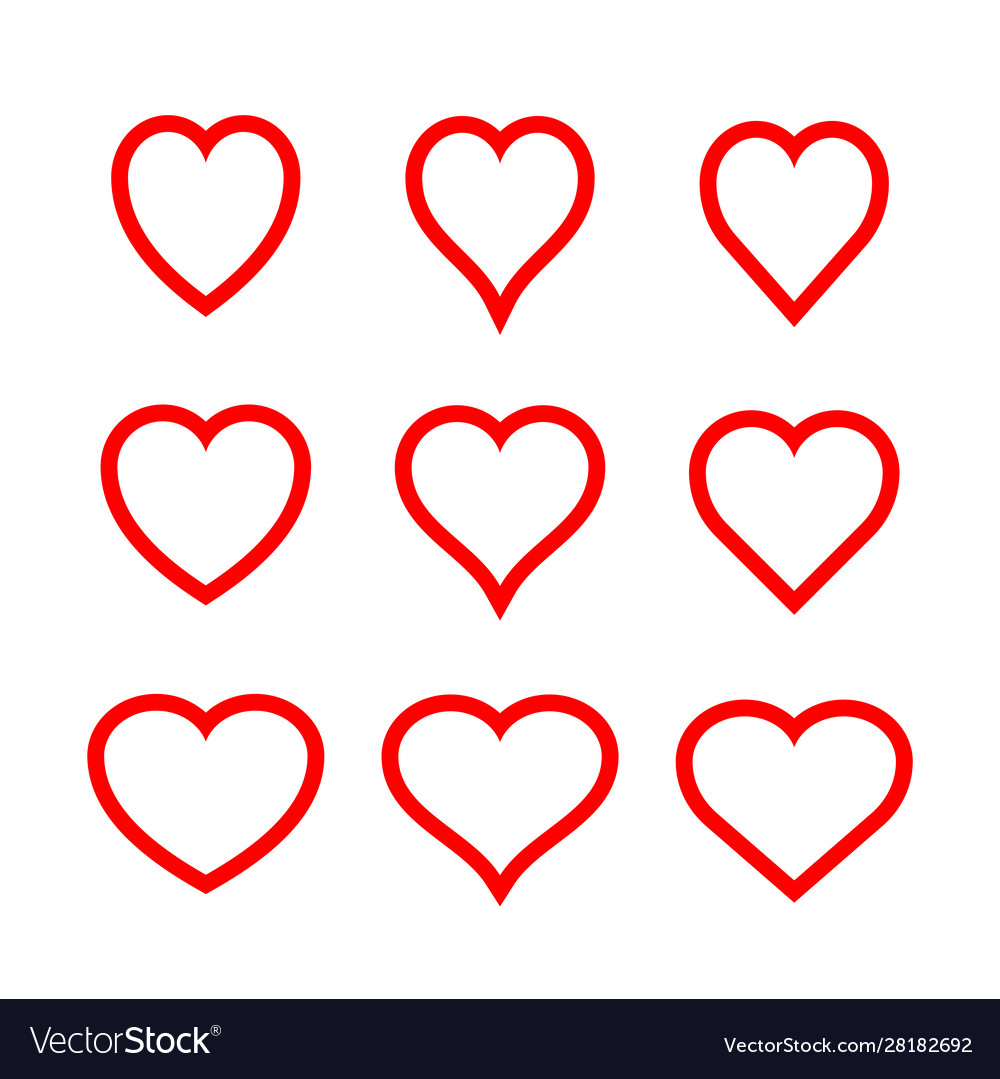 Red symmetric hearts - outline icon set