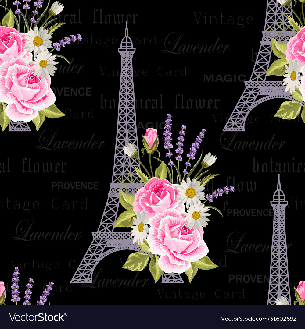 Seamless floral pattern with eiffel towers on