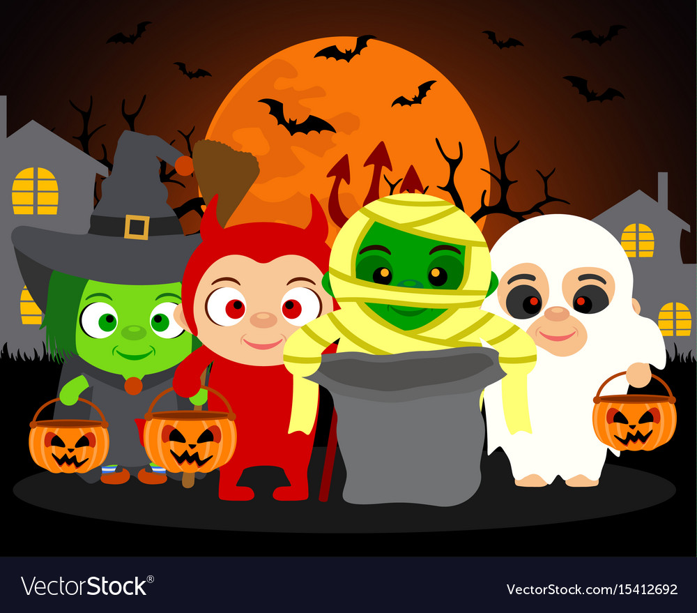 Trick or treat halloween background with kids