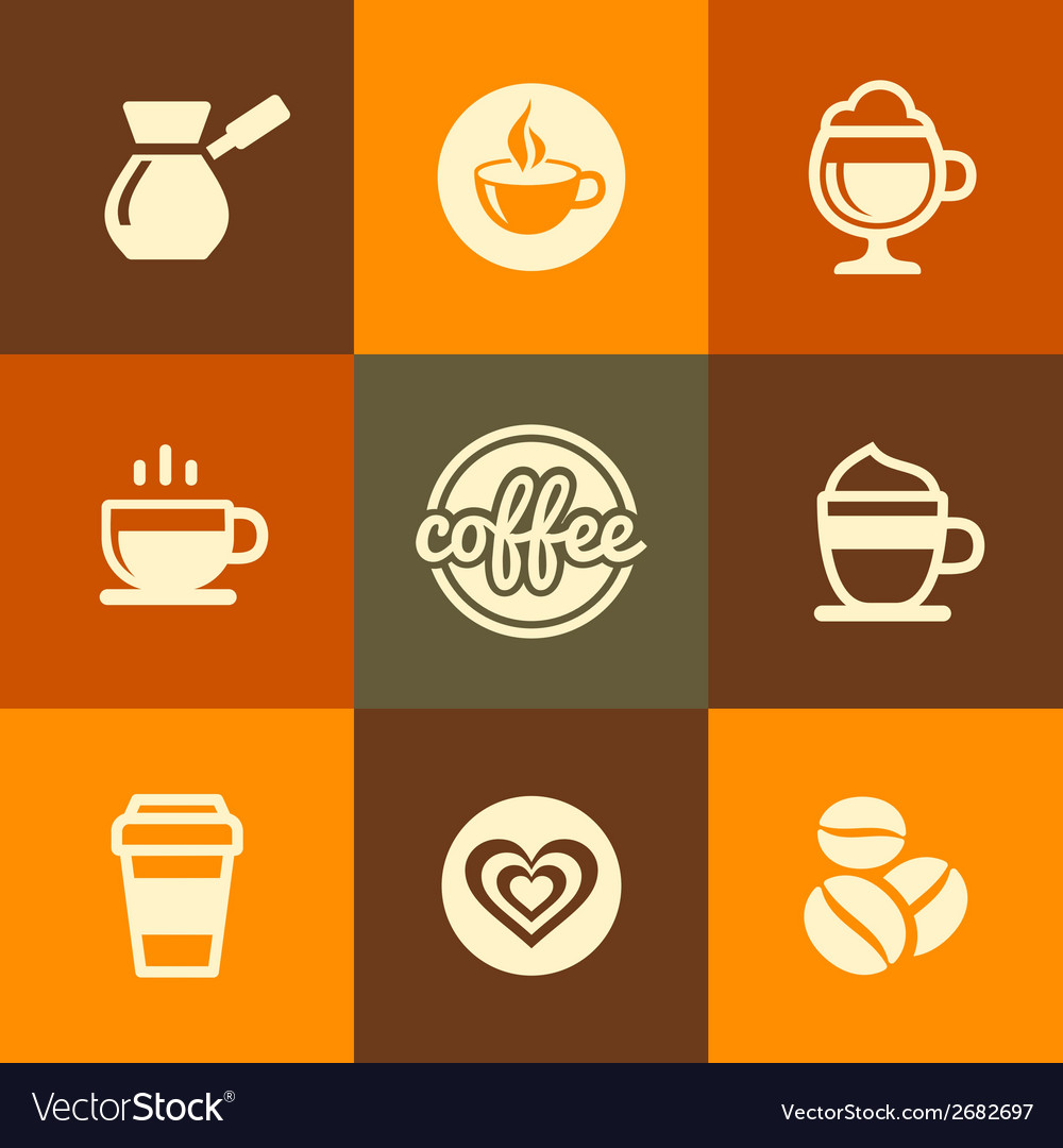 Coffee Icons Set in Flat Design Color Style