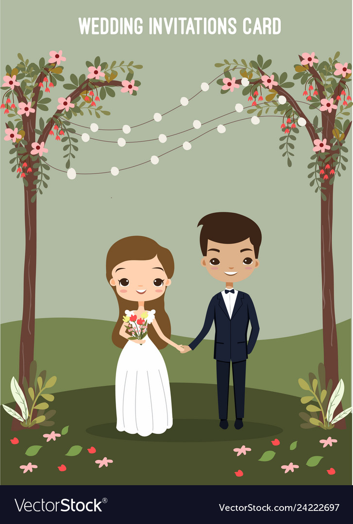 Cute Couple In Wedding Invitations Card Royalty Free Vector