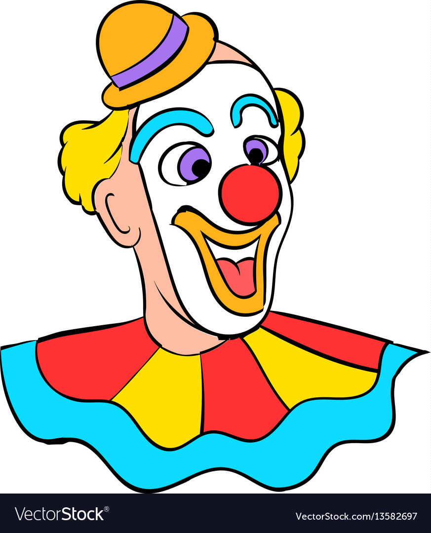Face clown icon cartoon