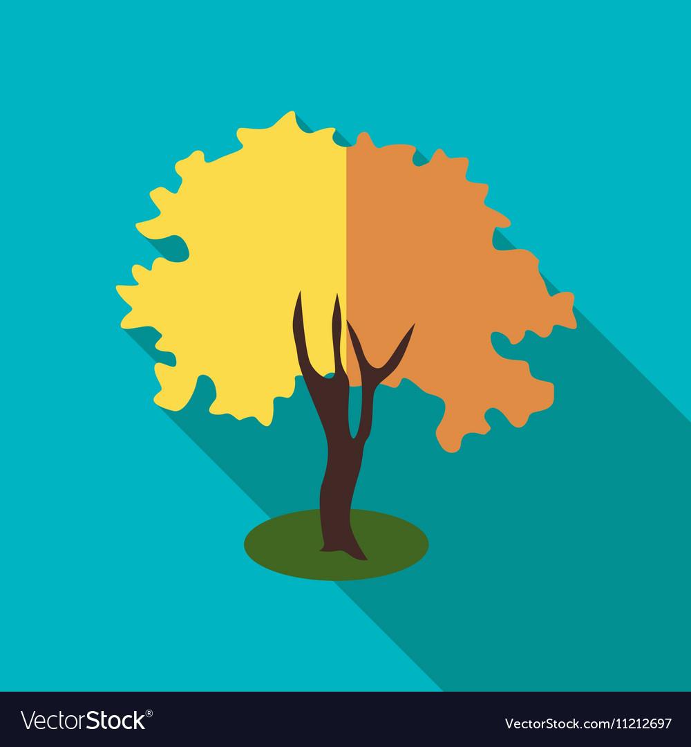 Fluffy autumn tree icon flat style vector image