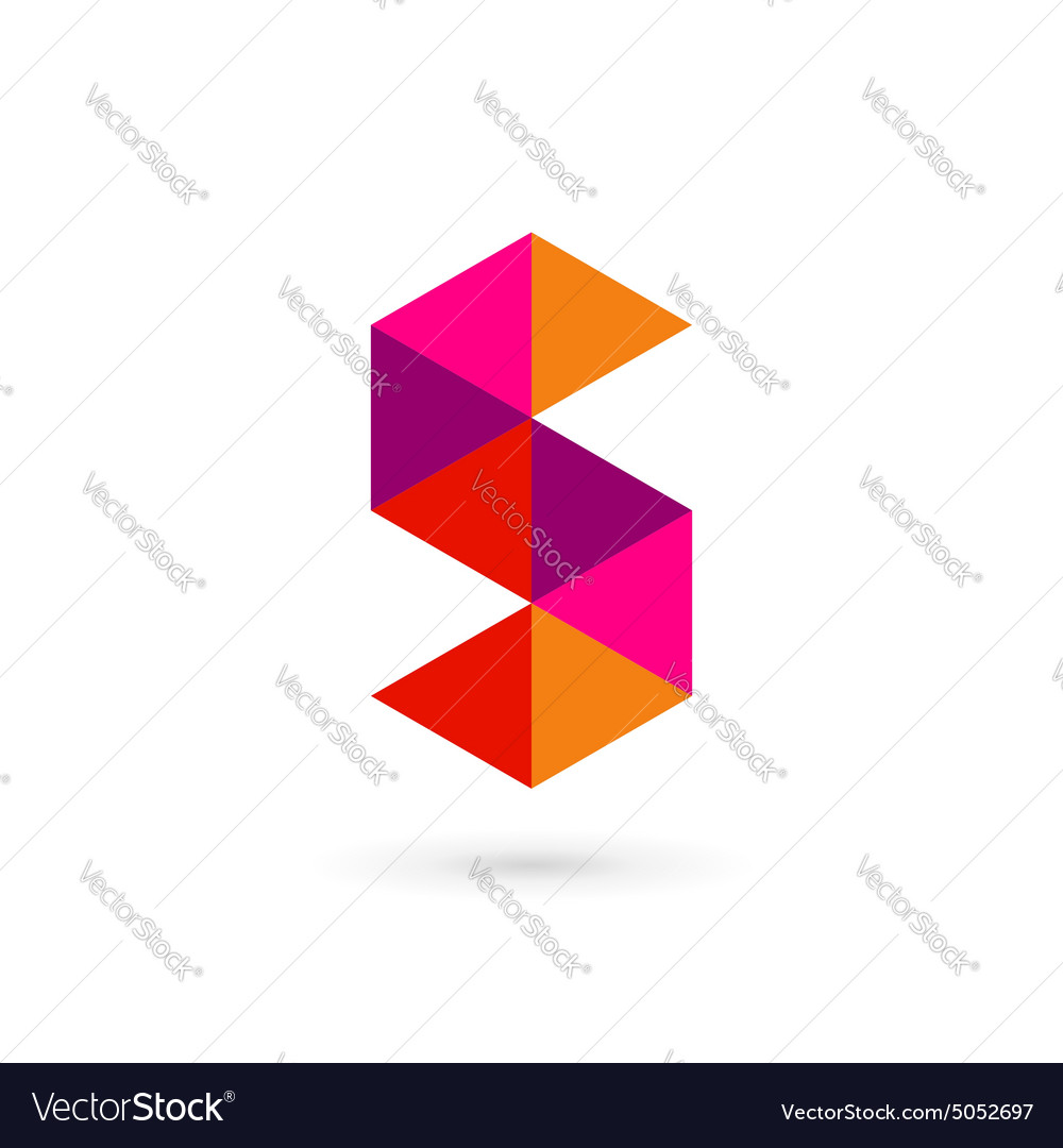 Letter S number 5 mosaic logo icon design template