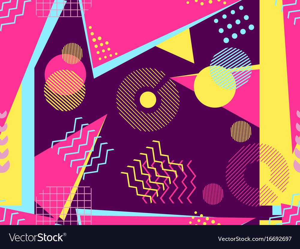 Memphis seamless pattern geometric elements
