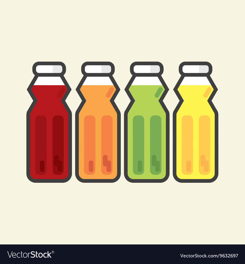 Set Of Colorful Fruit Juice Bottles Healthy Refres