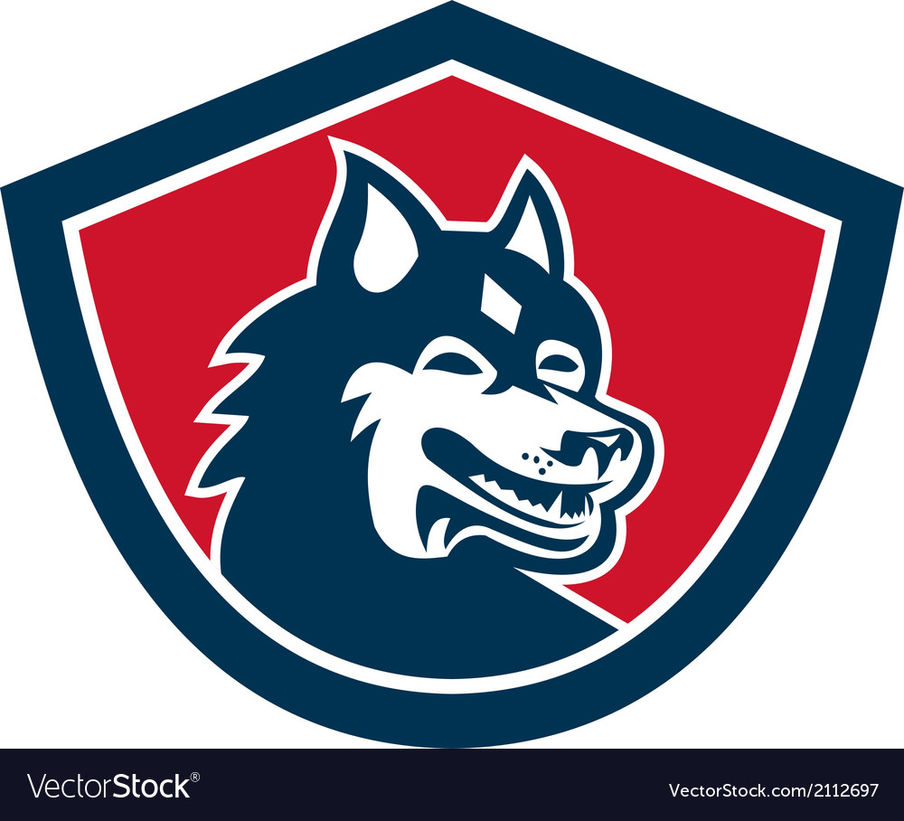 Siberian Husky Dog Head Shield Retro vector image