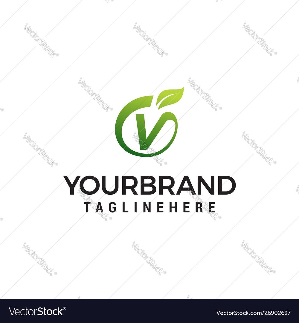 V logo initial letter design template with leaf