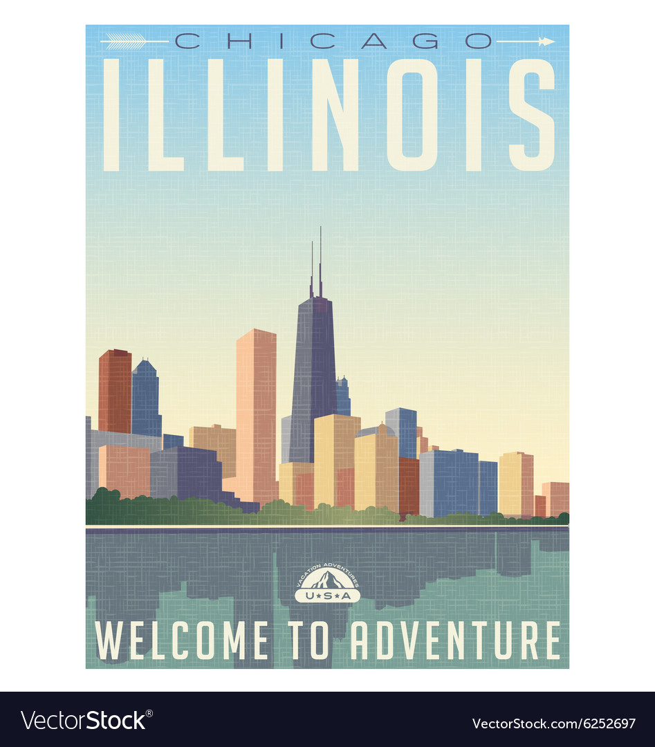 Vintage travel poster chicago skyline vector image