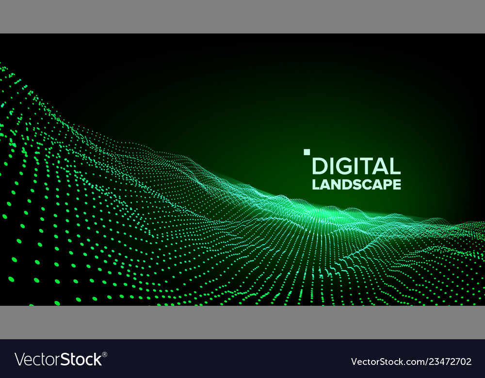 Abstract landscape particle wireframe big