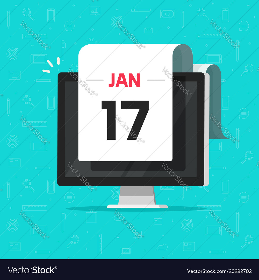 calendar date on computer screen royalty free vector image