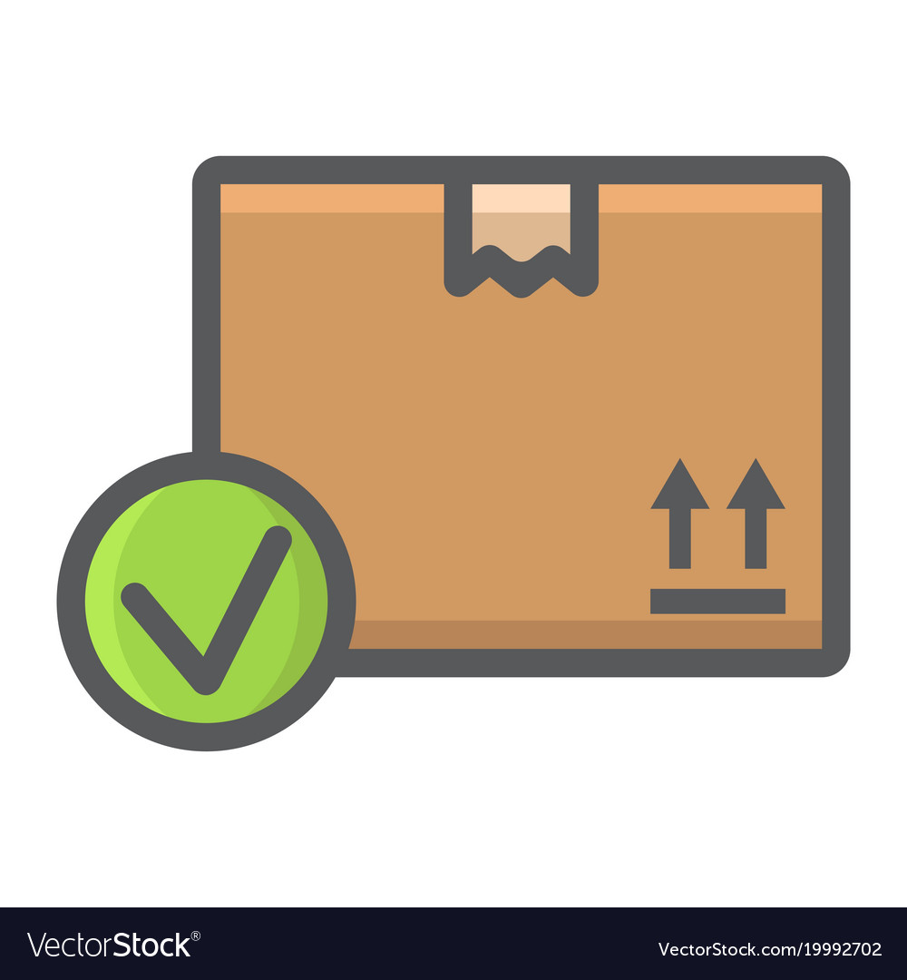 Carton Box With Check Mark Filled Outline Icon Vector Image