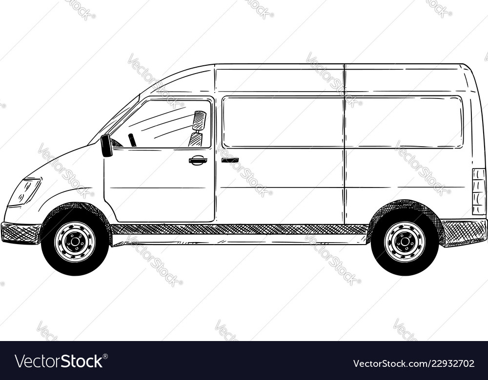 833ab35a10 Cartoon side view of generic delivery van Vector Image