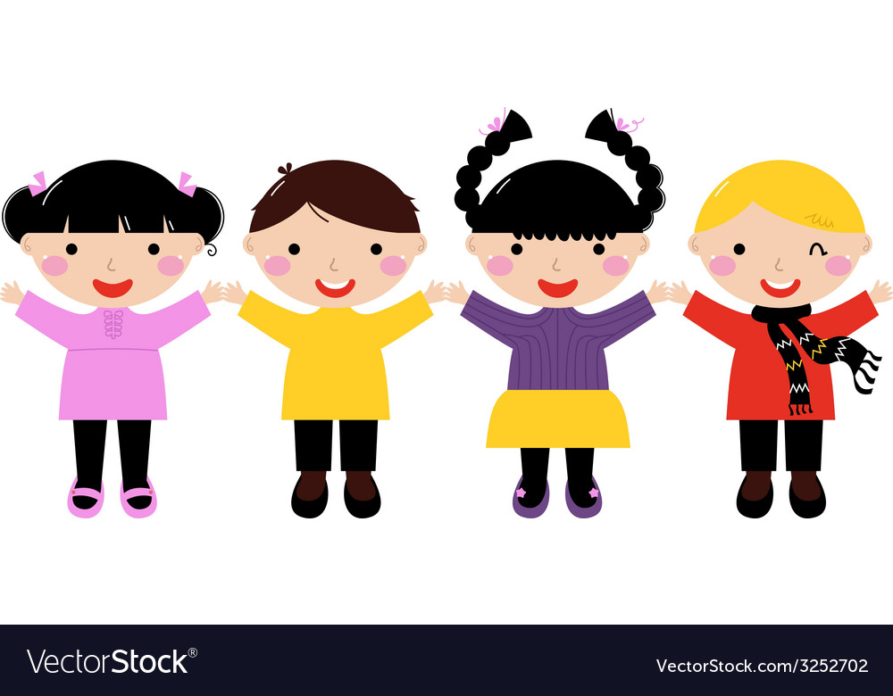 Cute school kids in row holding hands vector image