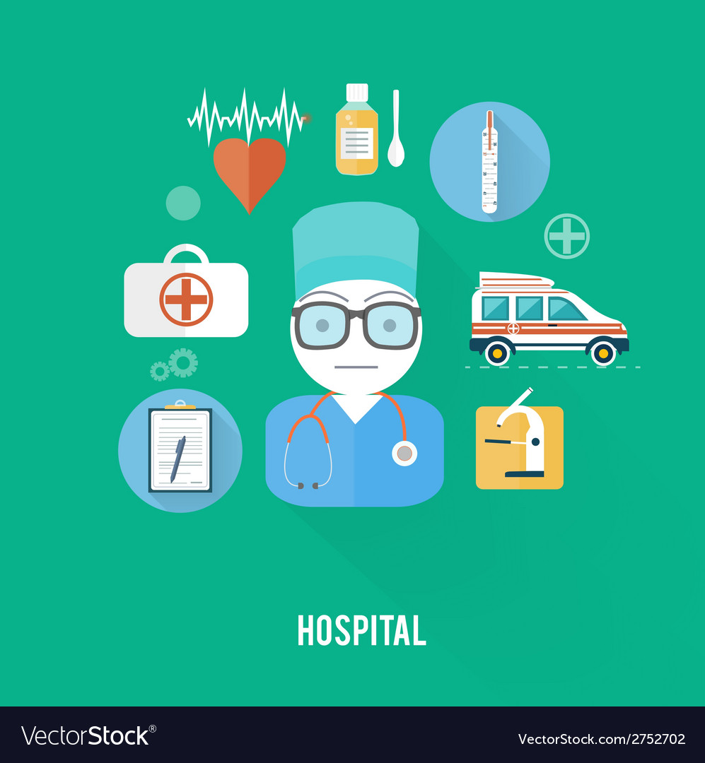Hospital concept with item icons