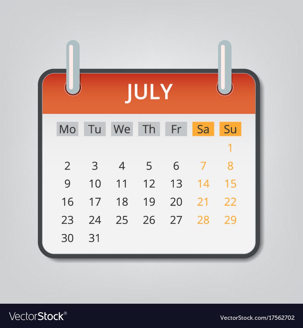 july 2018 calendar concept background cartoon vector image vectorstock