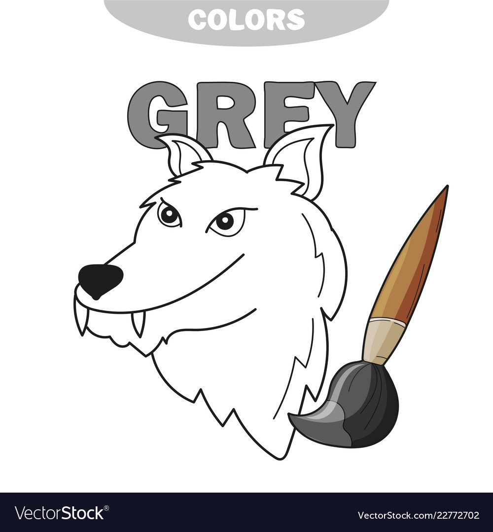 - Learn The Color Gray - Wolf - Coloring Book Vector Image
