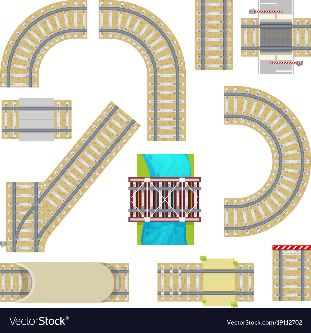 Railway railroad tracks top view curvy road