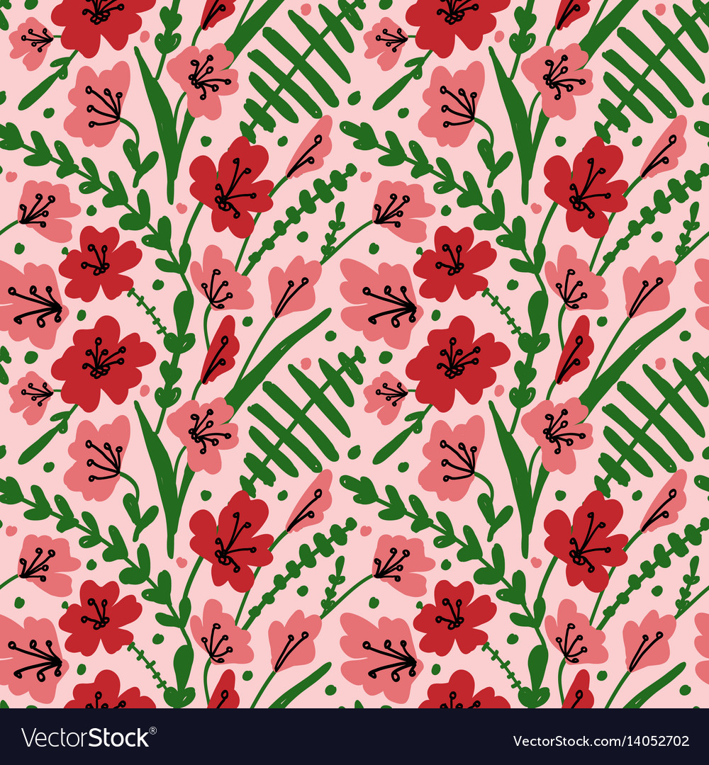 Seamless background with field flowers and herbs vector image