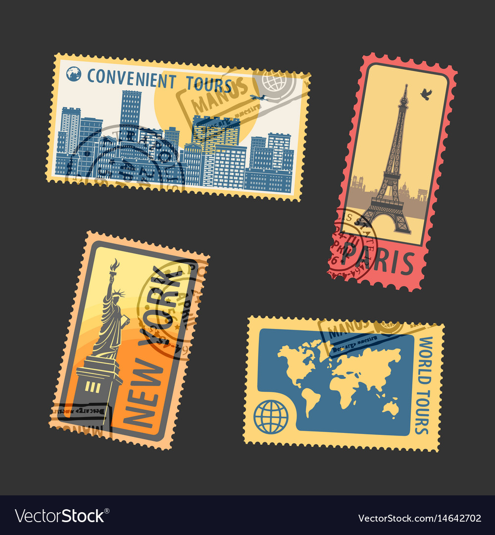 Set of postage stamps