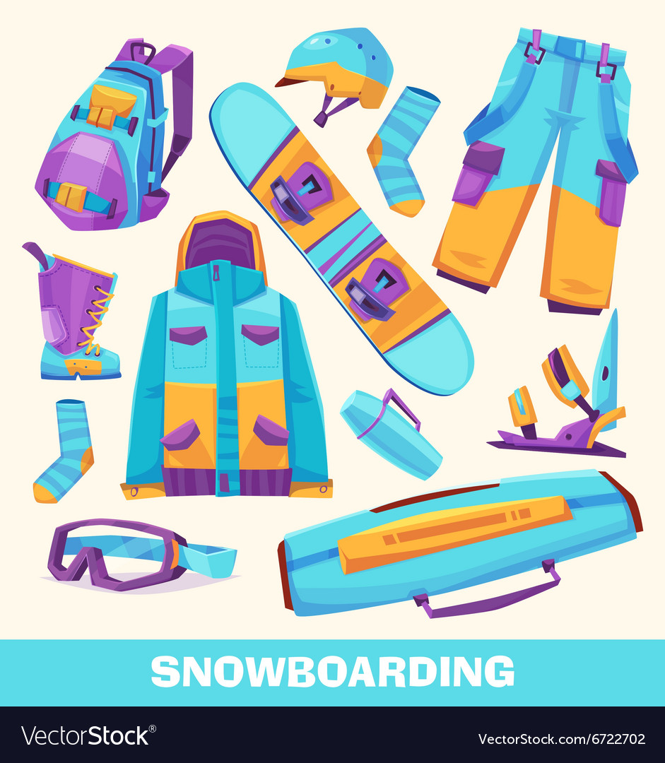 Snowboarding elements clothes and tools