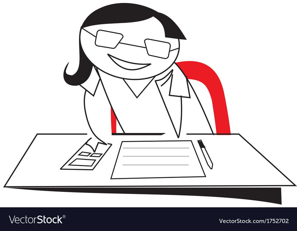 Stick figure girl working on desk vector image