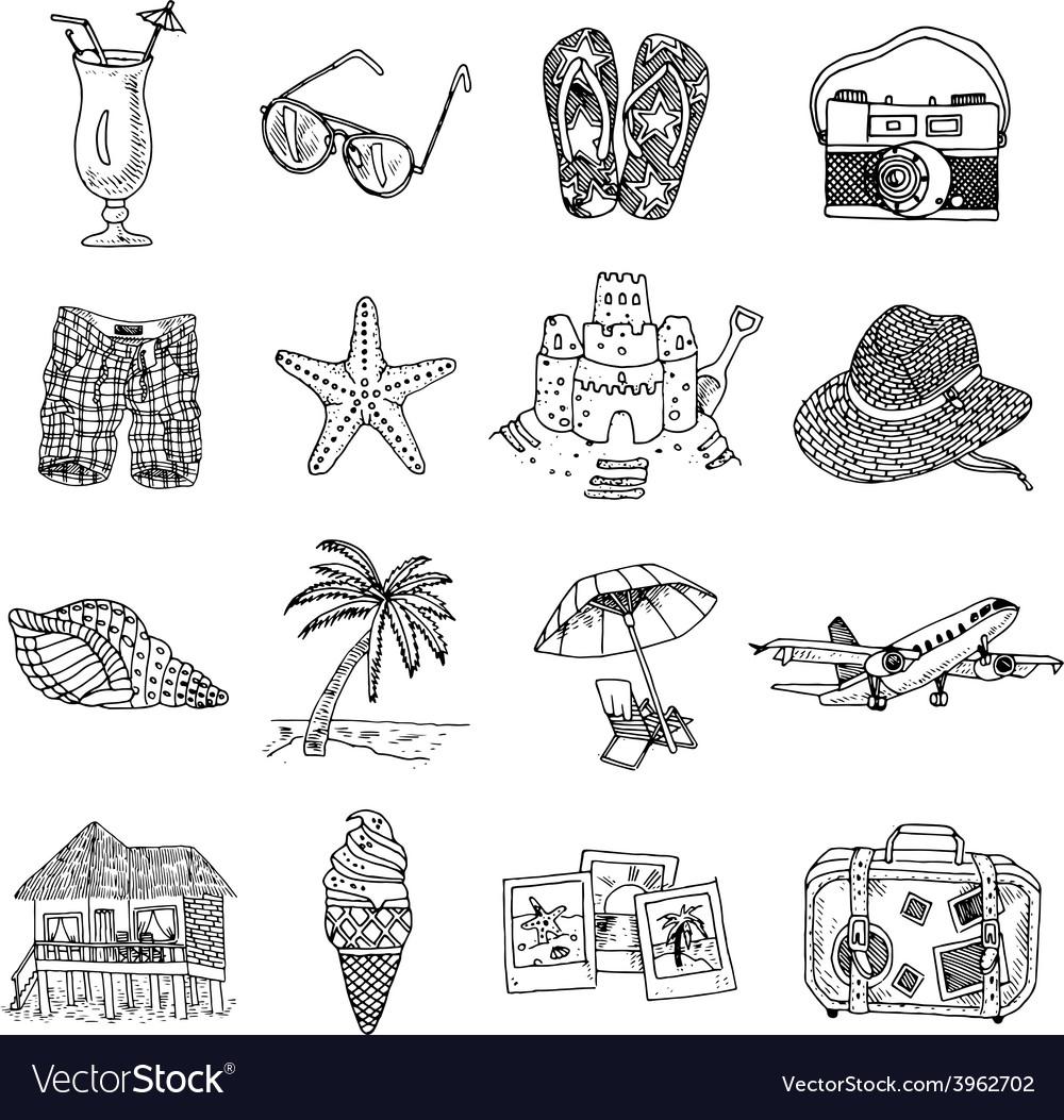 Summer vacation doodle sketch isons set