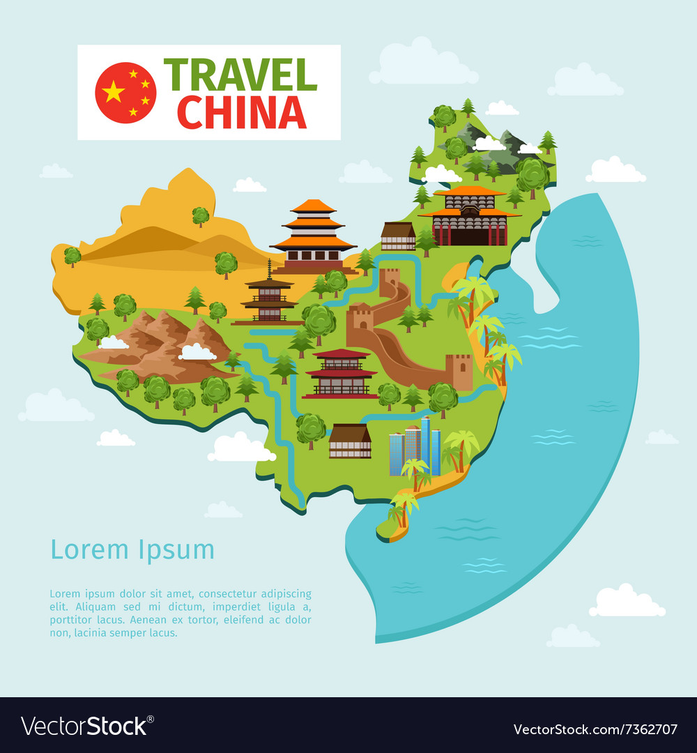 China travel map with traditional Chinese