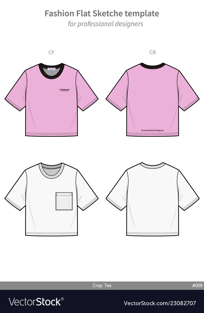 1228992b5c2b16 Crop top tee shirt fashion flat technical drawing Vector Image