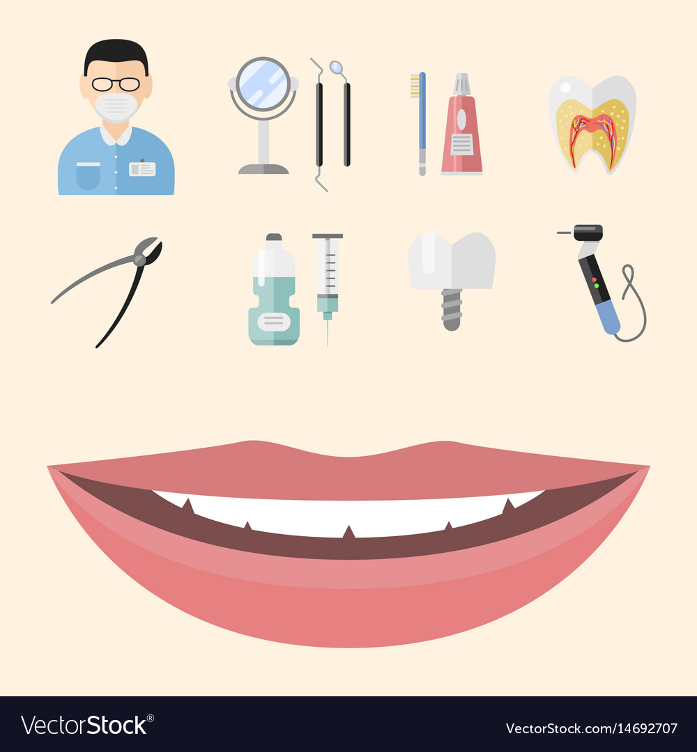 Flat health care dentist medical tools medicine