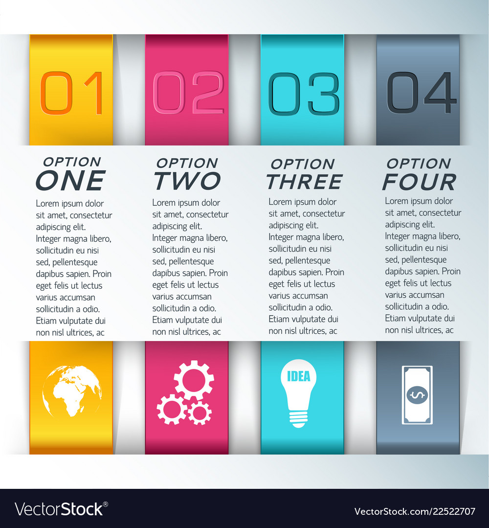Four colored steps for presentations composition