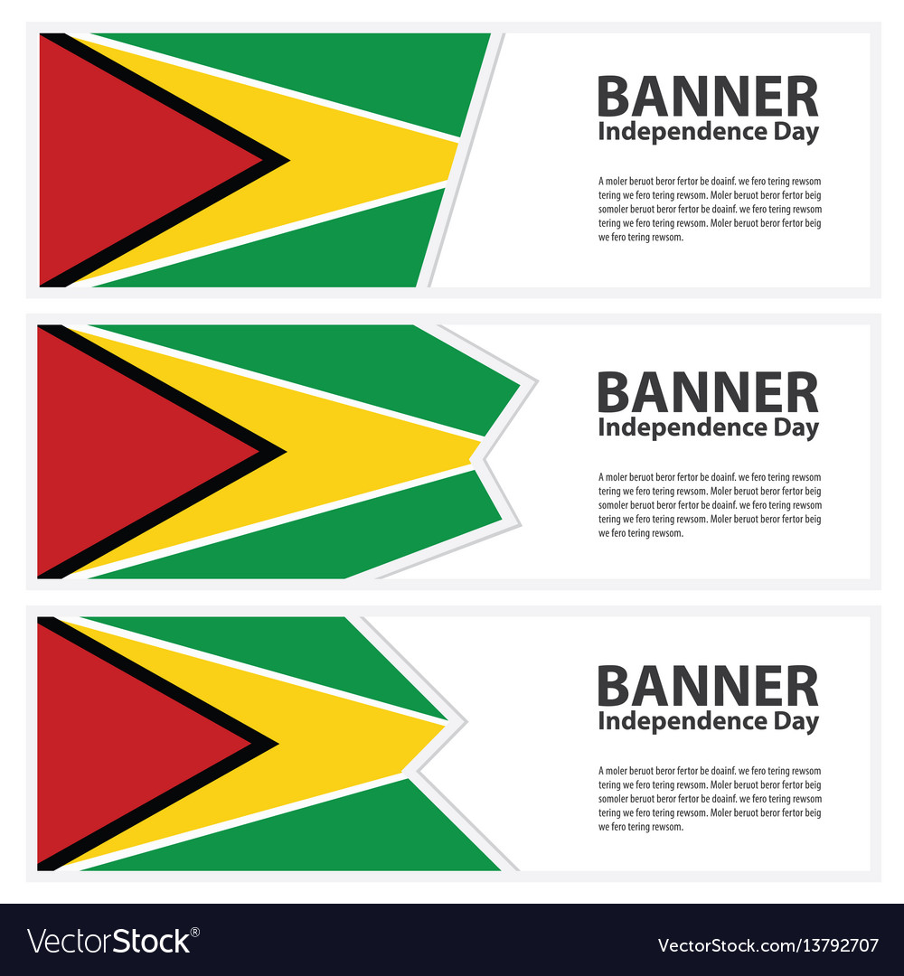 Guyana flag banners collection independence day vector image