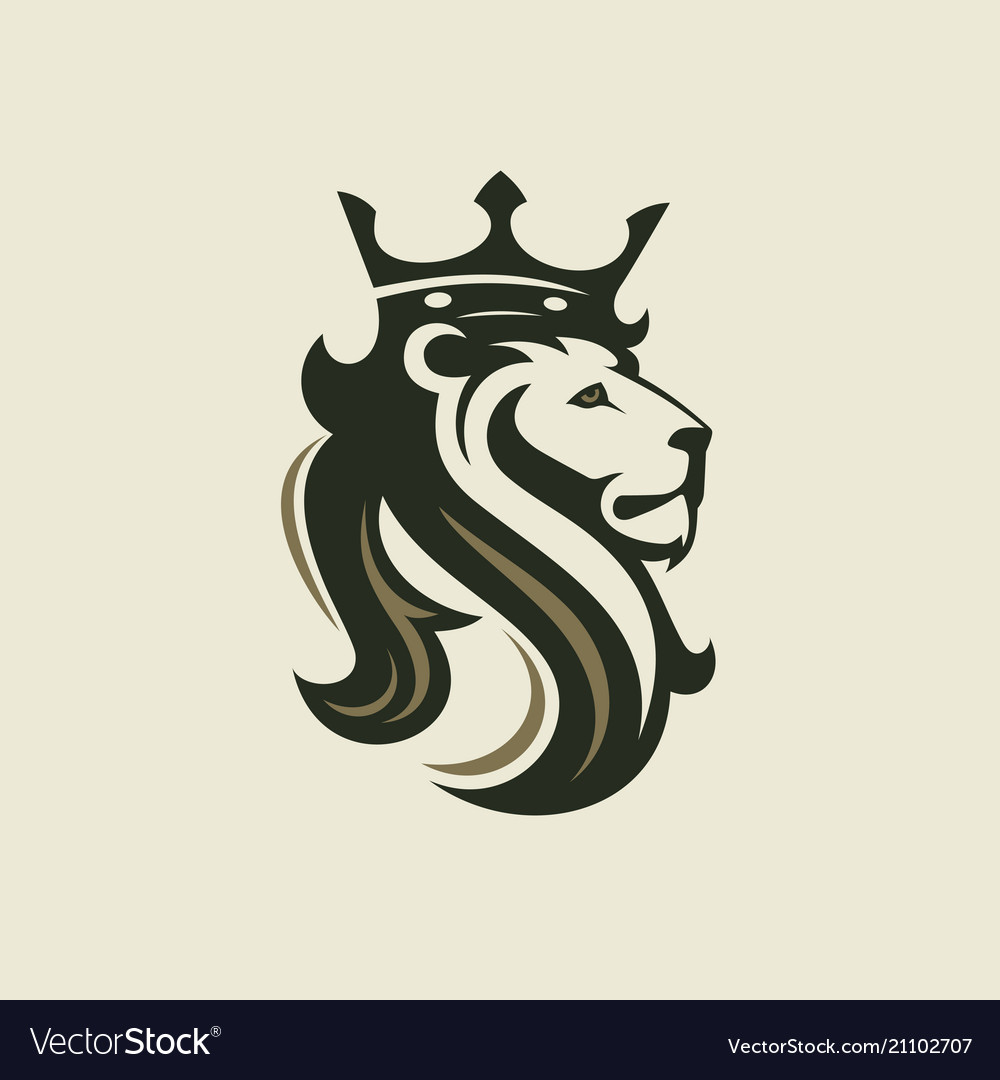 Head a lion with a royal crown