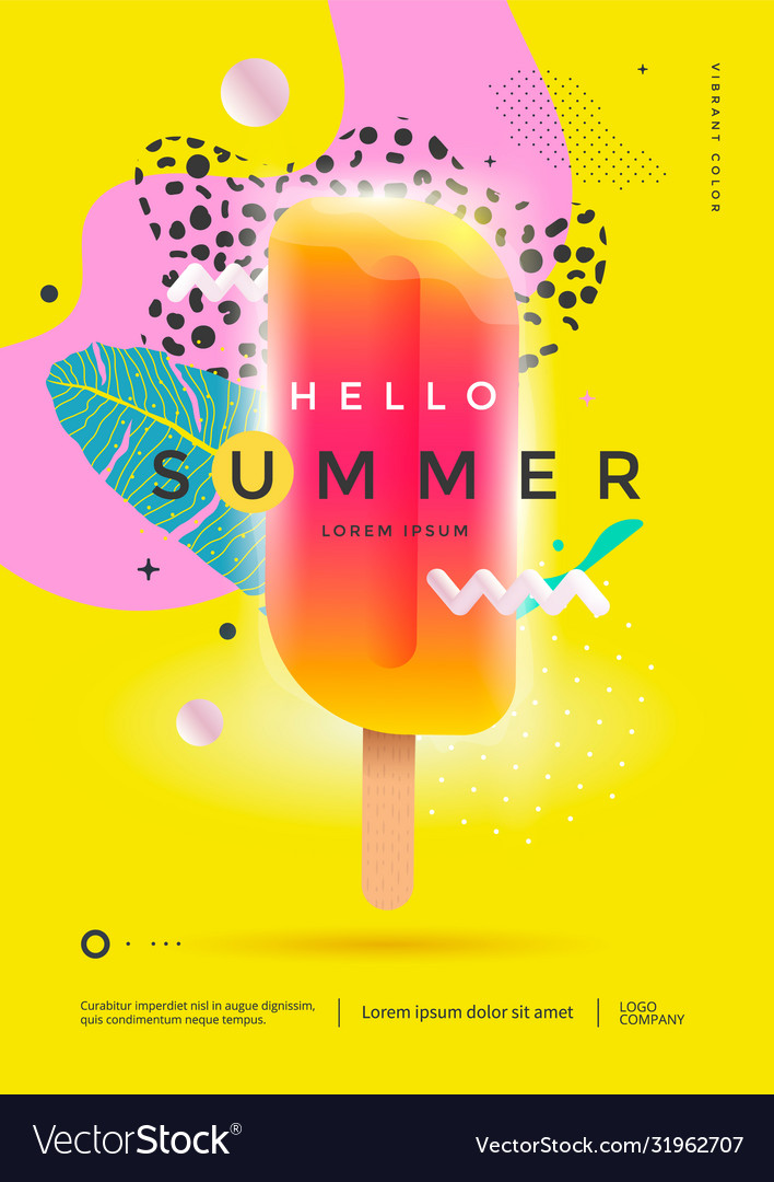 Hello summer poster design for party or sale