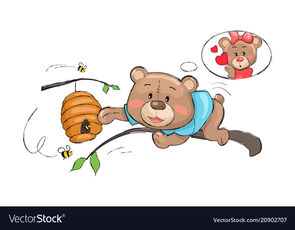 Male bear going take honey from hive full of bees