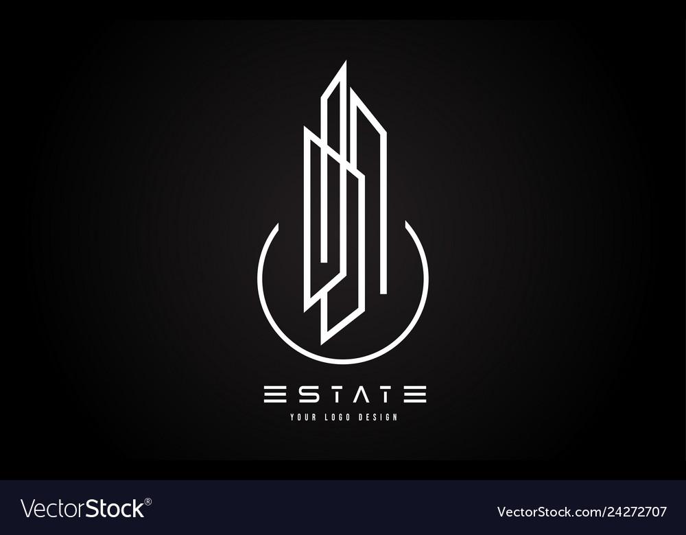 Real Estate Modern Monogram Logo Design Real Vector Image