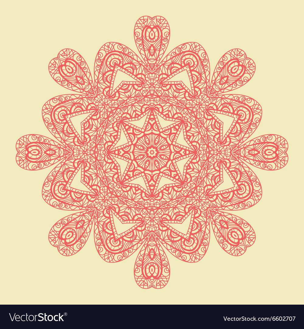 Red Mandala Doodle Print