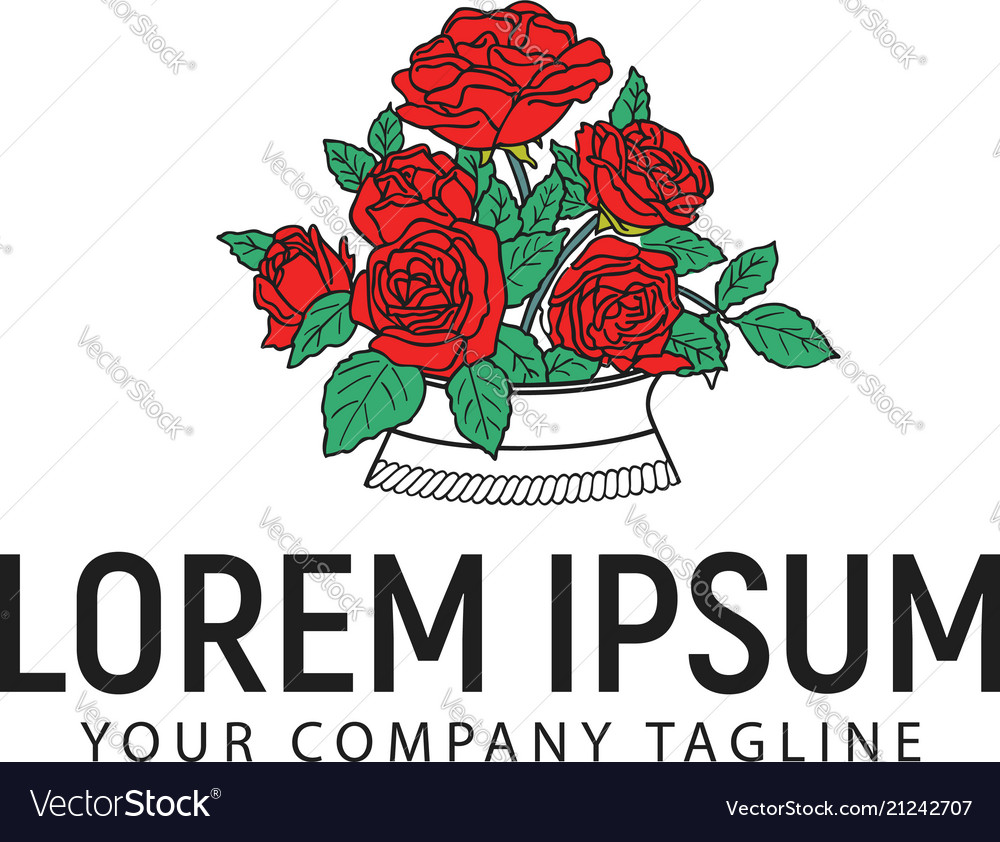 roses logo design concept template royalty free vector image