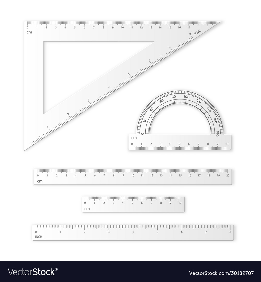 Set measuring tools rulers triangles