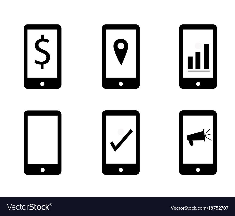 Set mobile marketing on white background make
