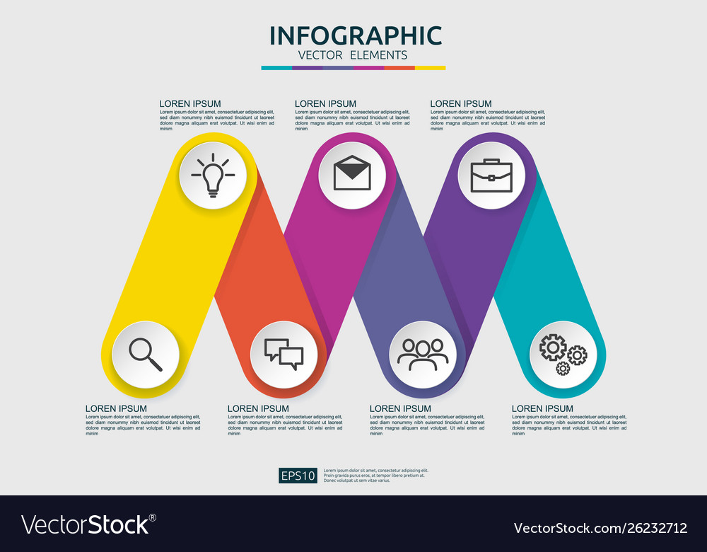 6 steps connection infographic element design