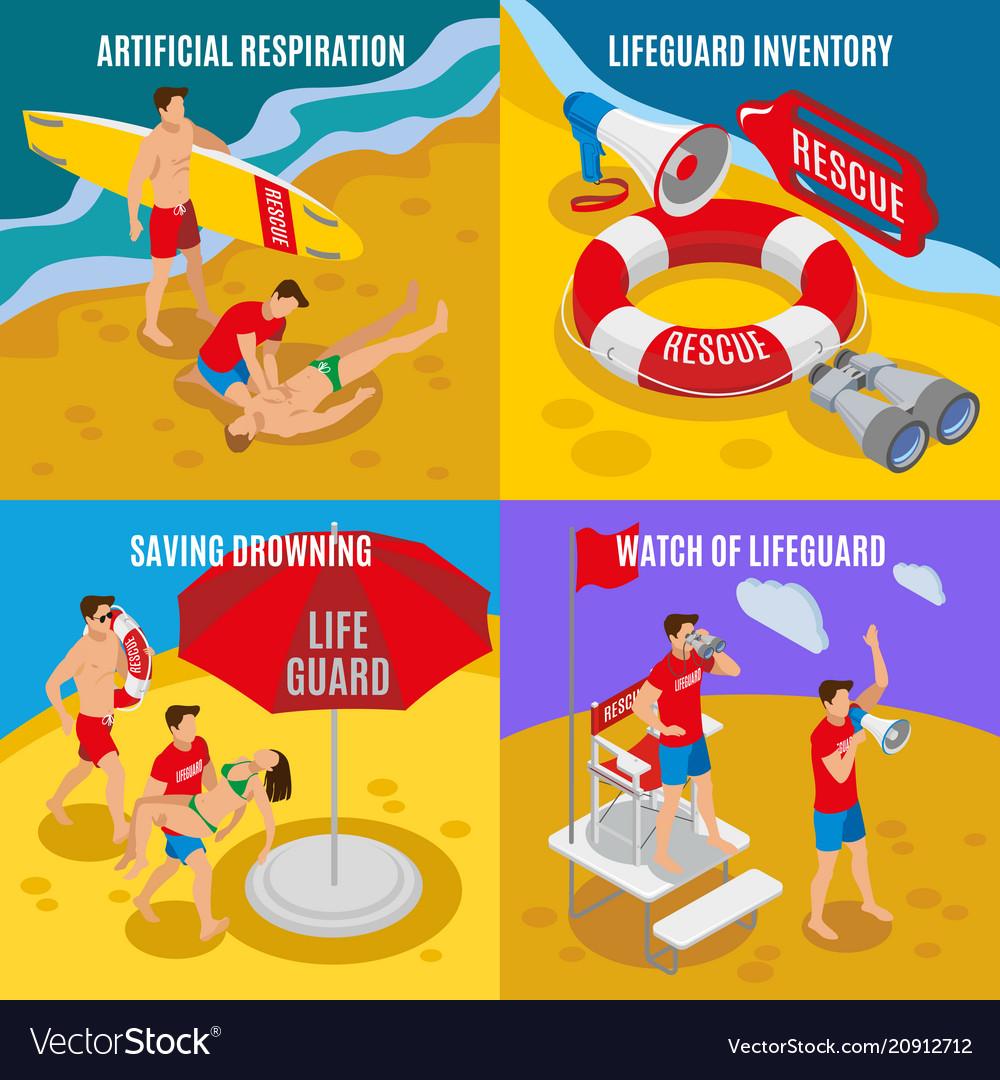 Beach lifeguards 2x2 design concept vector image