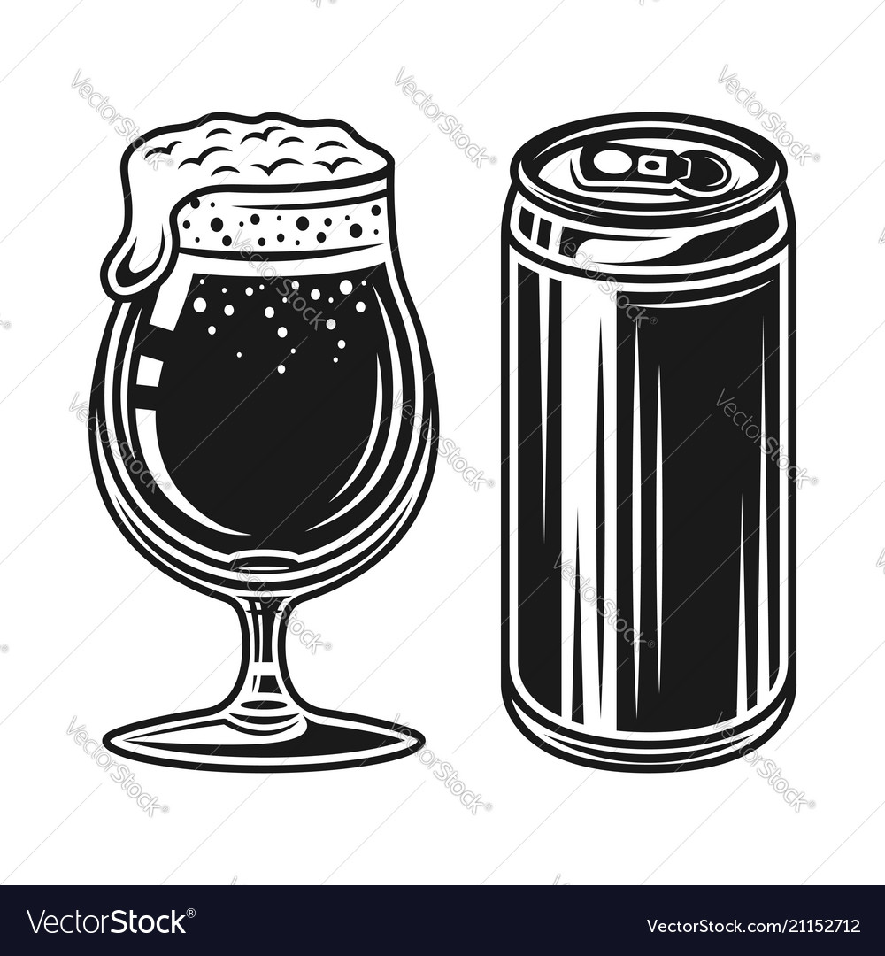 Beer can and glass with foam elements